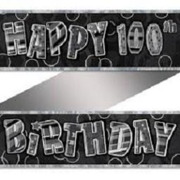 Happy 100th Birthday Prismatic Banner Black 3.6m