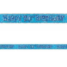 Happy 50th Birthday Blue Prismatic Banner 2.74m