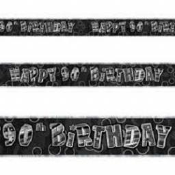 Happy 90th Birthday Prismatic Banner Black 3.6m