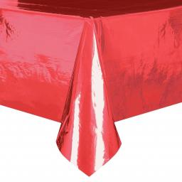 Metallic Red Plastic Table Cover - Rectangle54x108""