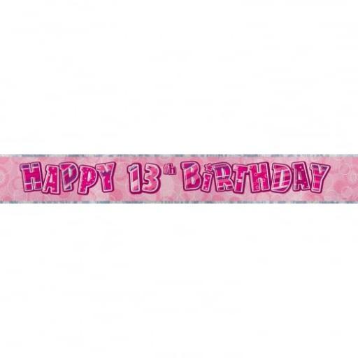 Pink Glitz Happy 13th Birthday Banner 2.74m
