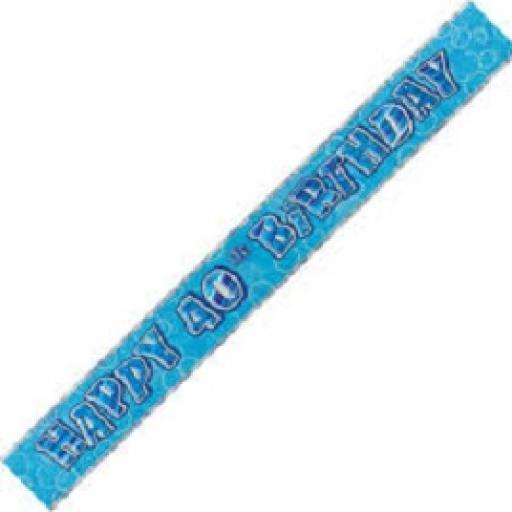 Happy 40th Birthday Blue Prismatic Banner 2.74m