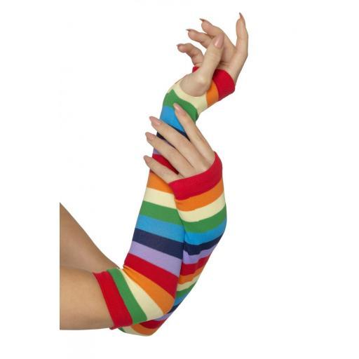 Fingerless Striped Gloves