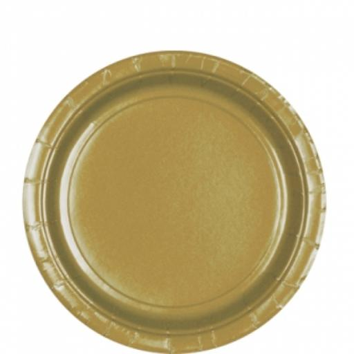 8 Gold Paper Plates 9""