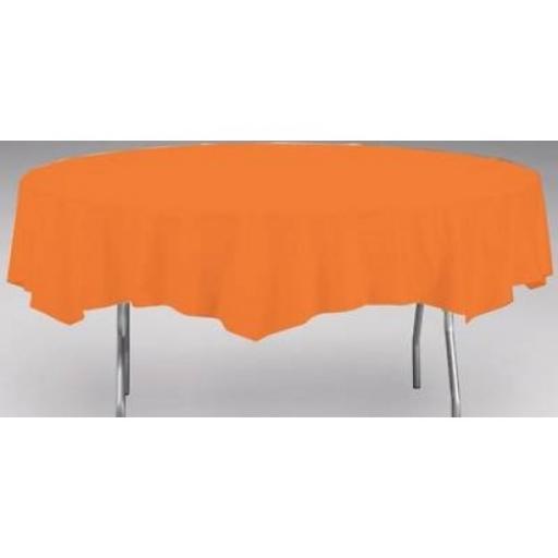 """Orange Plastic Round Table Cover 84"""""""
