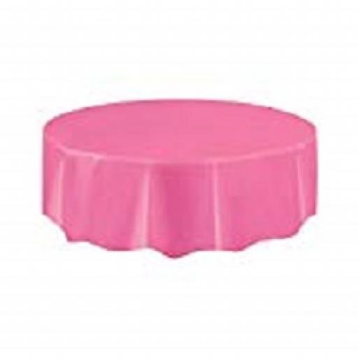 Hot Pink Round Plastic Tablecover 84inch