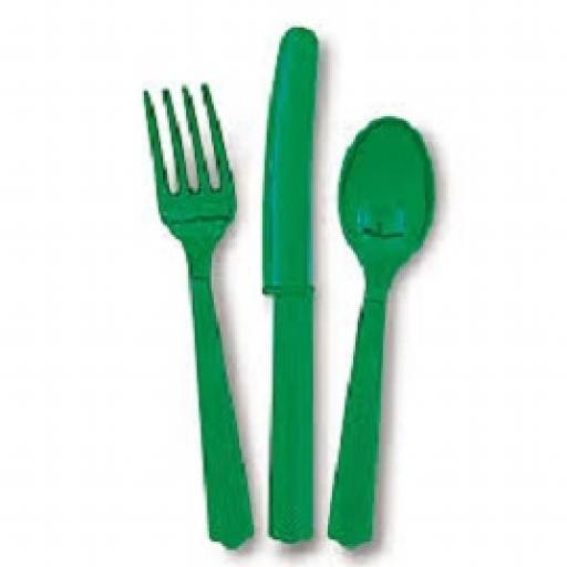 18 Green Plastic Cutlery