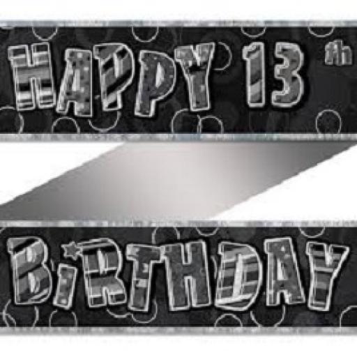 Happy 13th Birthday Prismatic Banner Black 3.6m