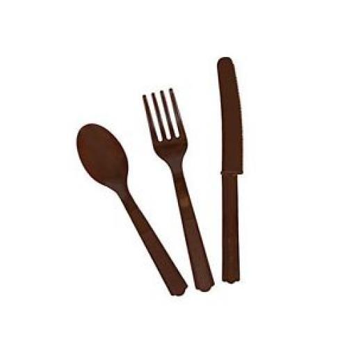 18 Brown Plastic Cutlery