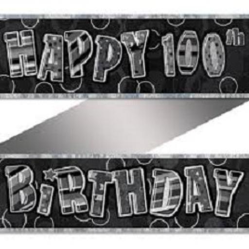 Happy 100th Birthday Prismatic Banner Black 3.6m