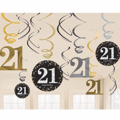 Gold Sparkling Celebration 21st Swirl Decoration