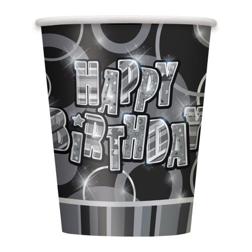 8 Happy Birthday Black Sparkle Paper Party Cups- 9oz