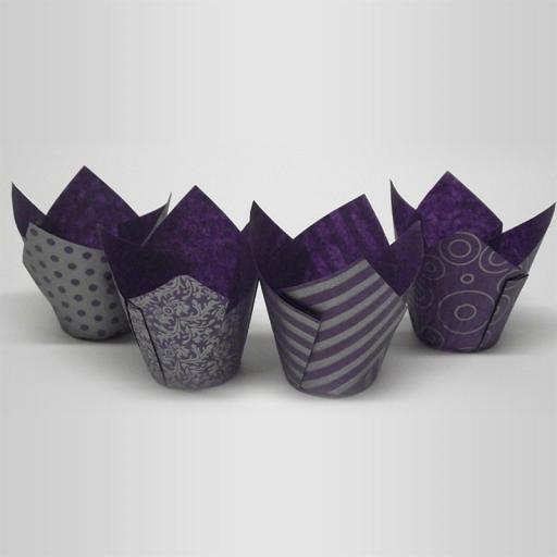 Assorted Purple and Silver Tulip Cupcake Case - Pack of 50