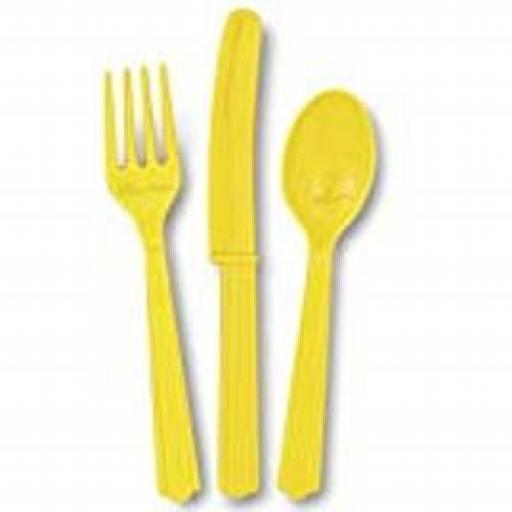 18 Sunflower Yellow Plastic Cutlery