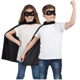 Halloween Costume Superhero Cape & Mask Black
