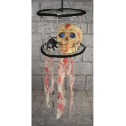 Gruesome Horror-38cm Hanging Skull In Cage