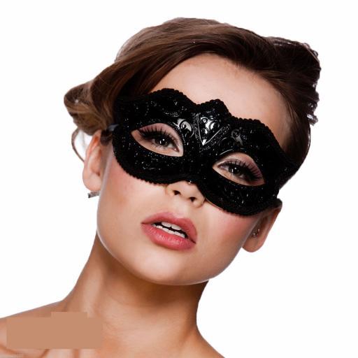 Verona Eye Mask -Black Glitter