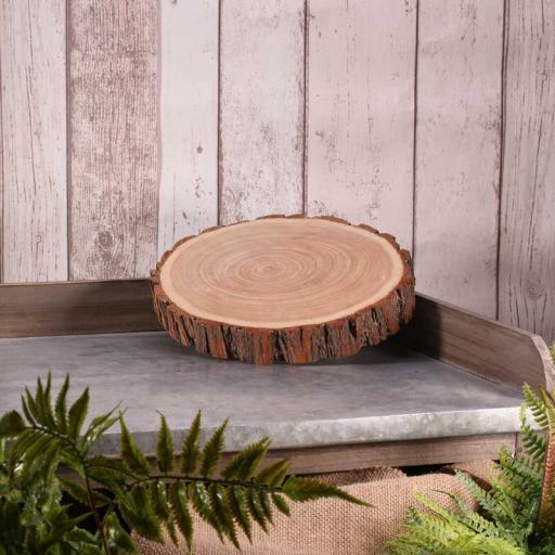 """Round Wooden Slice Cake Stand 9"""""""
