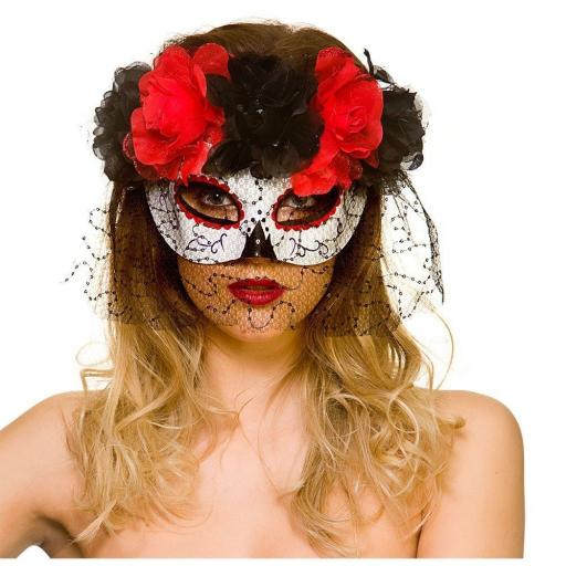 Women Halloween Eye Mask with Black and Red Roses & Veil