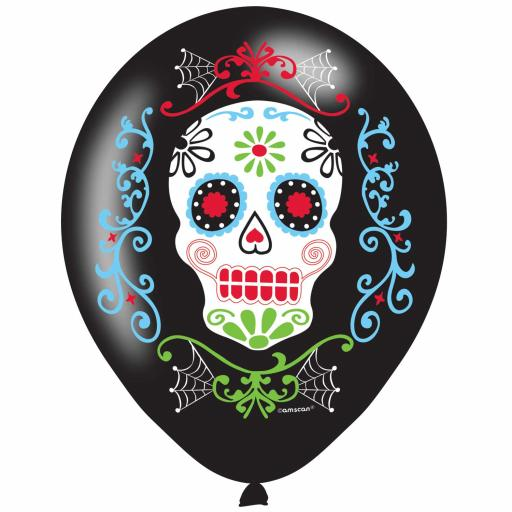 "Day of the Dead Latex 4 Colour Print Balloons 11""/27cm - PKG/6"