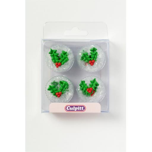 12 Holly & Berry Sugar Decoration
