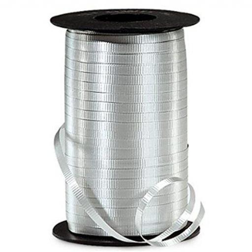 Silver Curling Ribbon for Balloons and Wrapping Paper - 500 Yards