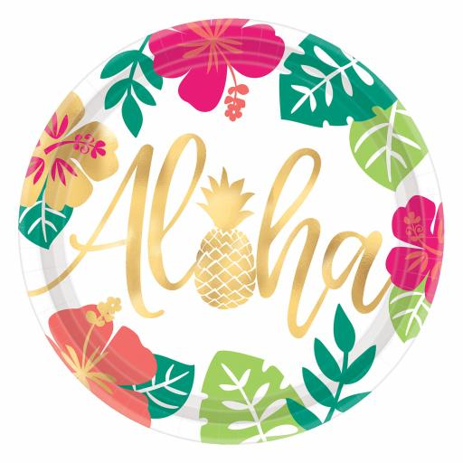 8 Aloha Paper Plates 25cm