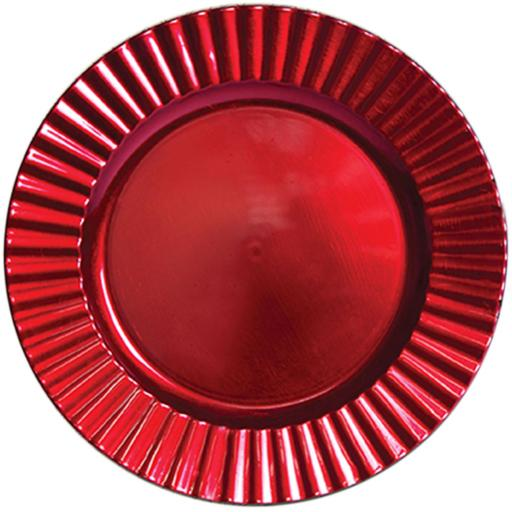33cm Red Charger Wavy Plate