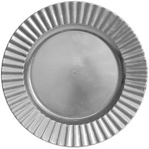 33cm Silver Charger Wavy Plate