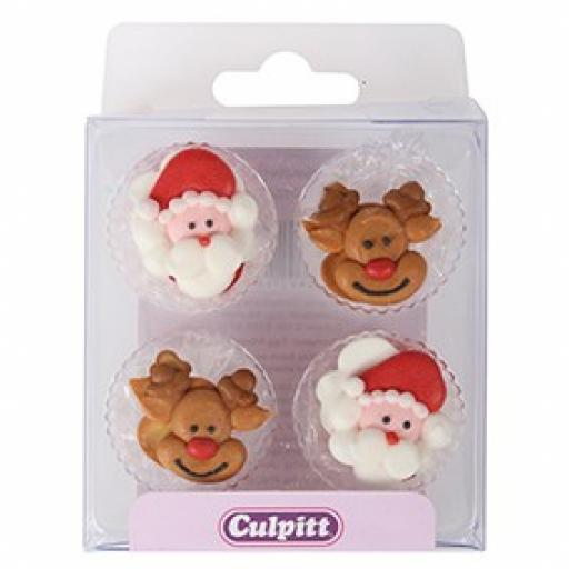 12 Santa & Rudolph Sugar Decoration