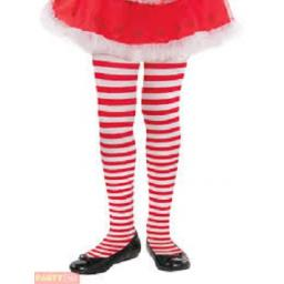 Child Girls Candy Stripe Tights - Christmas Fancy