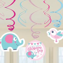 On your Christening Day Pink Swirl Decorations