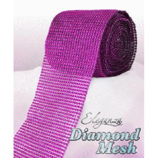 Eleganza Fuchsia Diamond Sparkling Mesh 12cm x 1m