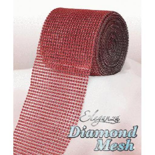 Eleganza Red Diamond Sparkling Mesh 12cm x 1m