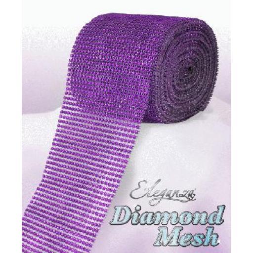 Eleganza Purple Diamond Sparkling Mesh 12cm x 1m