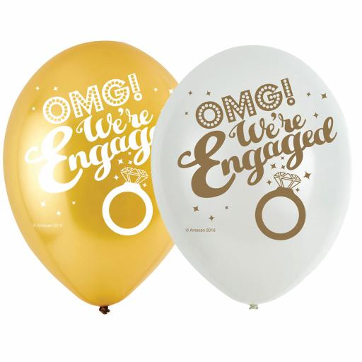 OMG! We're Engaged 4 Sided Print 6 Latex Balloons 11""