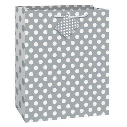 """Silver Polka Dot Gift Bag 13"""" x 10.5"""""""