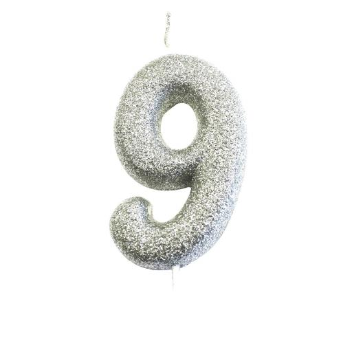 Age 9 Glitter Numeral Moulded Pick Candle Silver