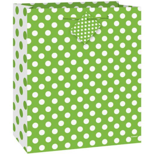 "Lime Green Polka Dot Gift Bag 13"" x 10.5"""