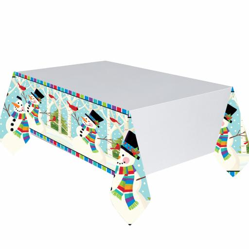 Joyful Snowman Plastic Tablecovers 1.37mx 2.59m