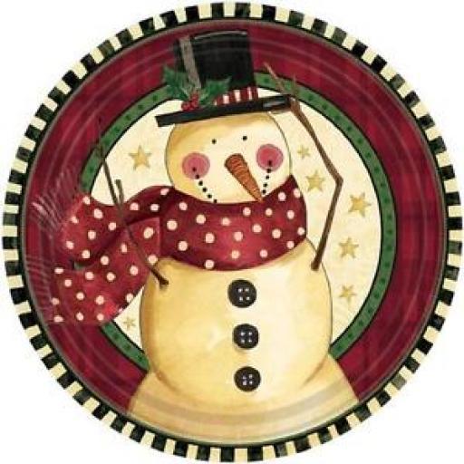 Cozy Snowman Paper Plates 17.7cm