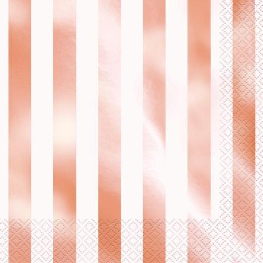 Rose Gold Stripe Paper Napkins - 33cm