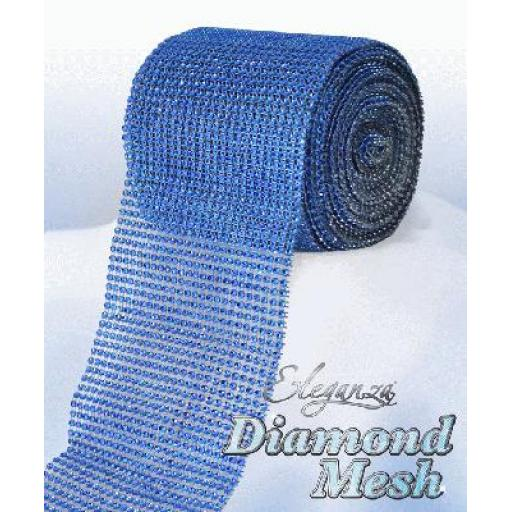 Elenganza Royal Blue Diamond Sparkling Mesh 12cm x 1m