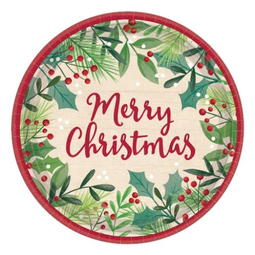 Merry Holly Day Paper Plates 17cm