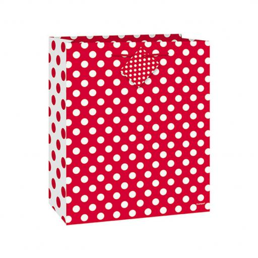 "Red Polka Dot Gift Bag 13"" x 10.5"""
