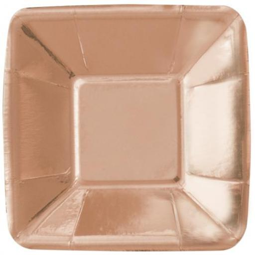 8 Square Rose Gold Plates 12.7 cm