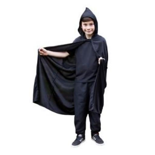 Kids Black Cape Hooded Robe Wizard Gandalf Girls Boys