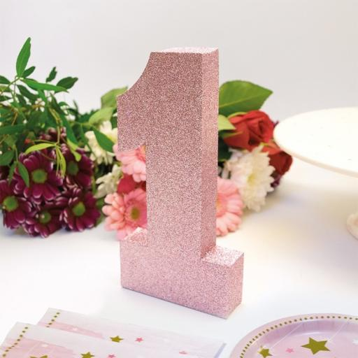 No. 1 Pink Glitter Table Decoration