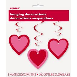 Valentine's Pink Heart Hanging Swirl Decorations 3pk
