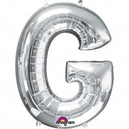 "Letter G Supershape Silver Foil Balloon 34""/""86cm"